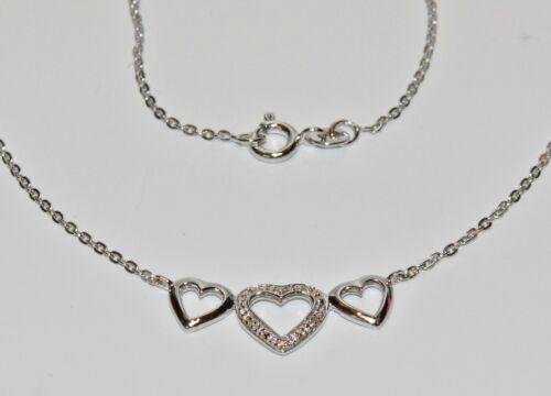 Argent Sterling Véritable Diamant triple collier cœur