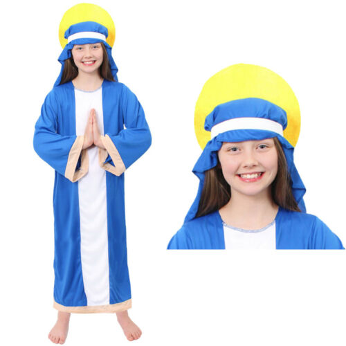 GIRLS VIRGIN MARY FANCY DRESS COSTUME CHILDS CHRISTMAS SCHOOL NATIVITY PLAY