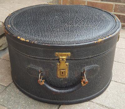 Vtg Leather Suitcase-Circle-Black-Hat Box-Handle-Blue Interior-Antique Luggage