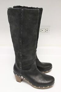 UGG-3205-JEMMA-BLACK-LEATHER-SUEDE-SHEARLING-LINED-TALL-BOOTS-WOODEN-HEEL-SZ-7