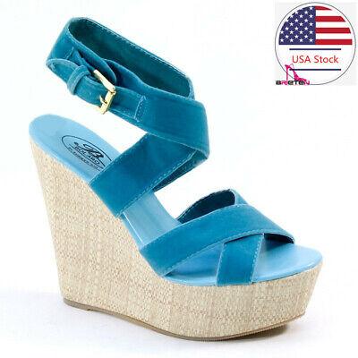 Brieten Women/'s Chunky Heel Platform Sandals High Heel Buckle Peep Toe Sandal