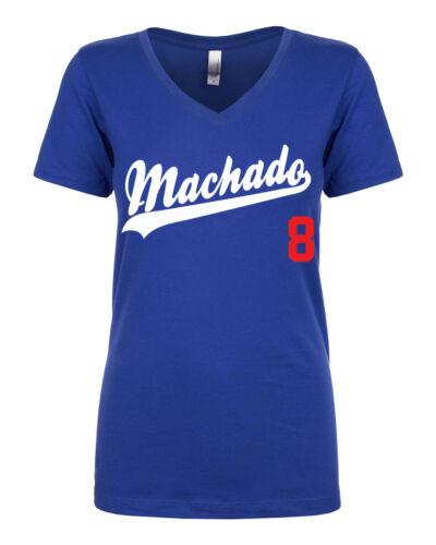 "V-NECK Ladies Manny Machado Los Angeles Dodgers /""Logo/""  T-shirt"