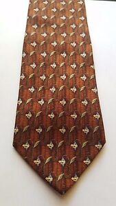914ba2db Details about Ermenegildo Zegna 100% Italian Silk Men's Tie Brown/Red Bell  Flower Pattern