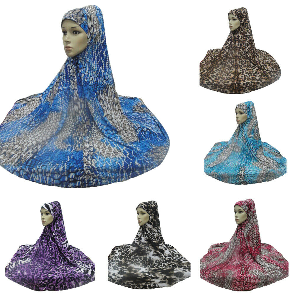 Islam Long Prayer Scarf Hijab Amira Khimar Muslim Women Ice Silk Print Cap Stole