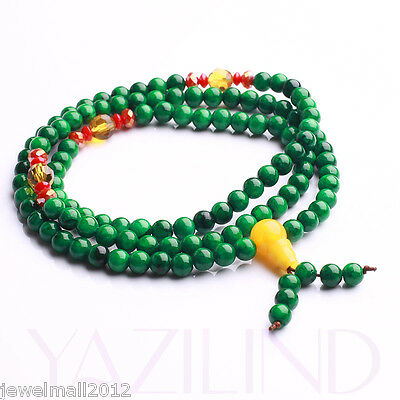 6mm Green Jade Prayer Mala Meditation Bead Buddhist Necklace Bracelet
