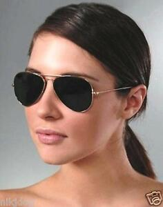 Large-Aviator-Smoked-Sunglasses-Silver-Frame-Dark-Black-Lenses-FREE-USA-Shipping
