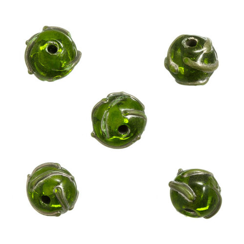 N76//4 Transparent Green Patterned Lampwork Glass Beads 12mm Pack of 5