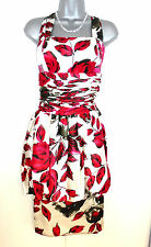BNWT Michel Ambers Silk Satin Floral Print Evening Occasion Dress 10