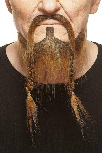 Pirate Black Braided Beaded Beard Mustache Facial Hair Costume Accessory NEW