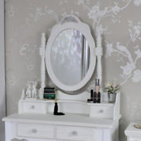 Large ornate white rose vanity tabletop dressing table mirror shabby French chic