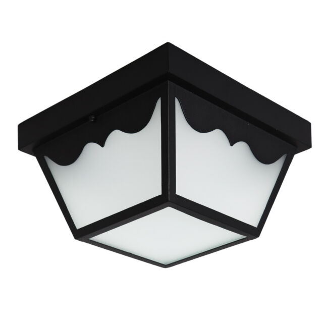 Maxxima LED Outdoor Porch Ceiling Light Fixture Black W/ Frosted ...