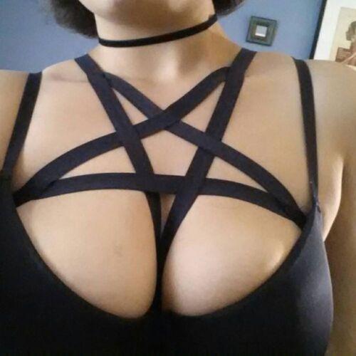 Elastic Body Harness Women Black Pentagram Handmade Fashion Dress Cage Bra