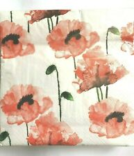 Decoupage Craft 4x Paper Napkins for Party Poppy Drawing