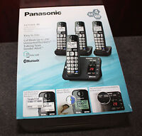 Panasonic 4 Handset Cordless Phone Set Dect 6.0 Link To Cell Answer Kx-tg454sk