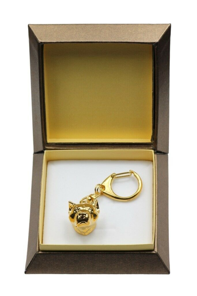 Amstaff type 4 - oro covered keyring with dog, box, high quality, Art Dog