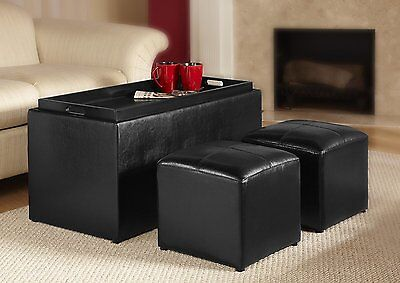 Storage Bench W Ottoman Set Faux Leather Coffee Table Tv Tray Foot Rest Stool 765050951572 Ebay