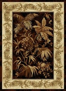 Stylish Tropical Palms Trees Black Brown Cream 8x11 Area
