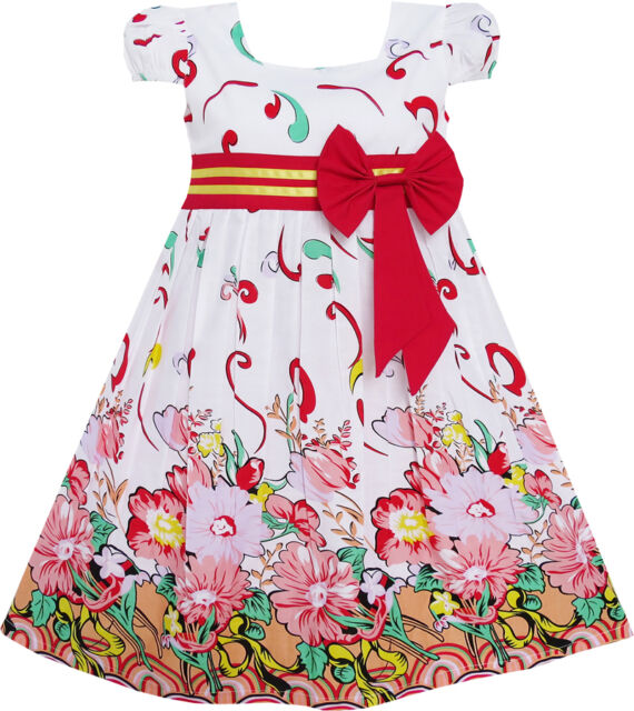 Sunny Fashion Girls Dress Pink Flower Short Sleeve Party Birthday Kids Size 2-10
