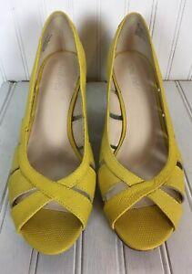 NIne-West-Womens-Yellow-Leather-Wedge-Open-Toe-Slip-On-Sandal-Sz-8-5-M-Heel