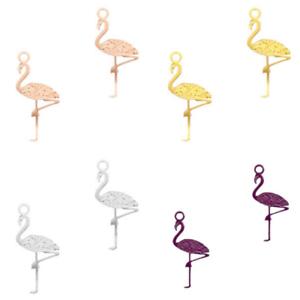 5 Stk - 20x5 mm Sadingo Leichte Messing Metallanhänger Flamingo Farbauswahl