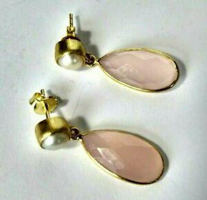 Calcedon-rosa-und-Keshi-Perlen-Ohrringe-925-Silber-vergoldet