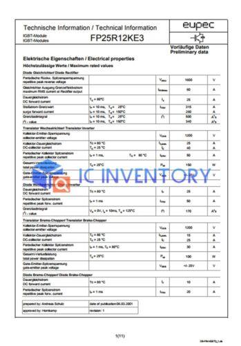 1PCS EUPEC//INFINEON  FP25R12KE3 Module Power Supply New 100/% Quality Guarantee