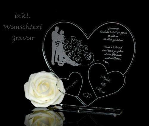 """Aufsteller 3 Herzen /""""Paar/""""  inkl Gravur Geschenk Hochzeit Valentinstag Love TOP"""