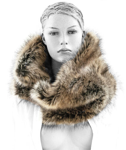 Pelliccia faux pelo sintetico fake echarpe Shawl pelliccia scarf per loop COLLO camino Webpelz