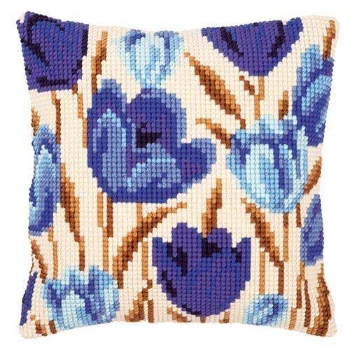 Blue Crocus Cross Stitch Cushion Front Kit PN-0021764 Vervaco