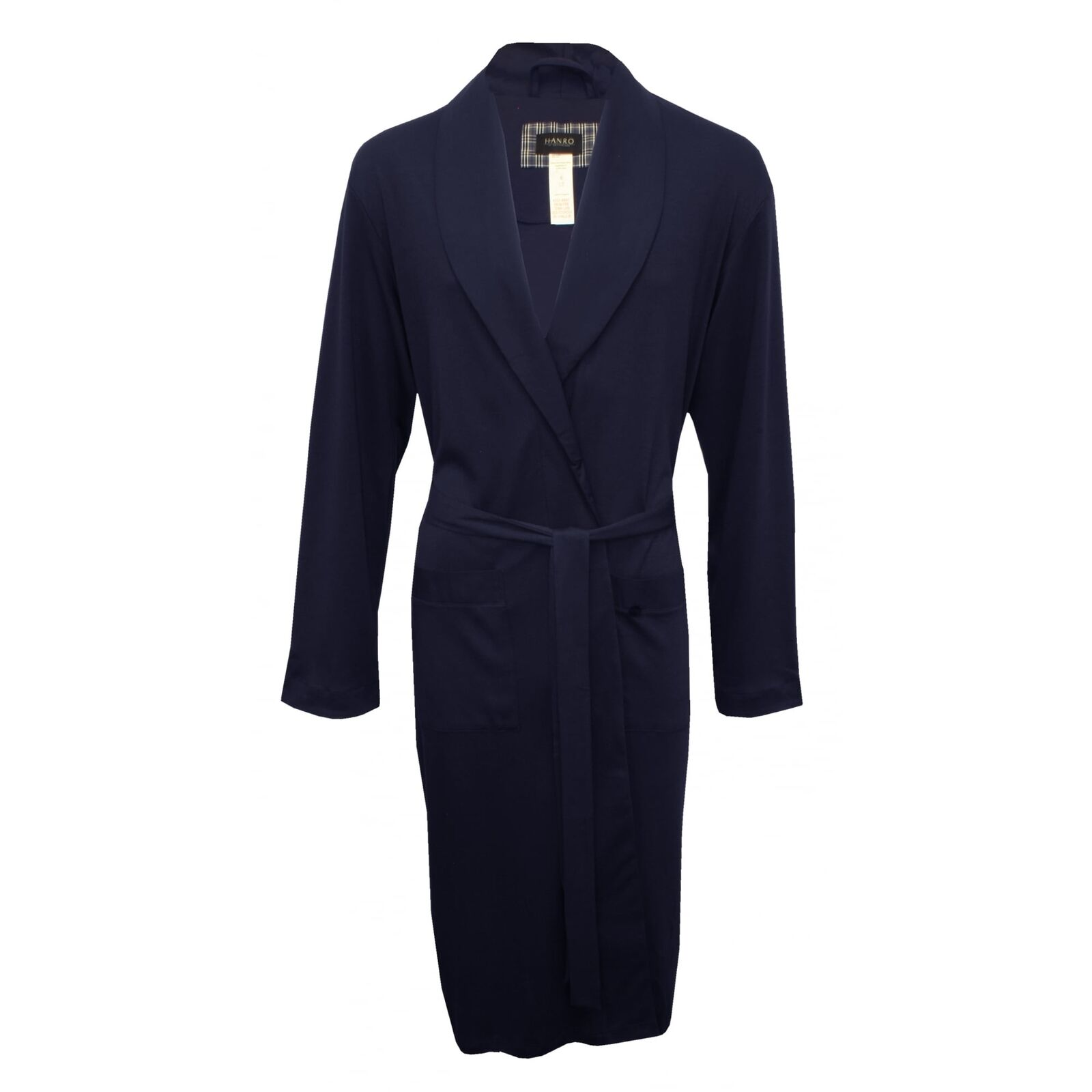 Hanro Night & Day Jersey Knit Men's Bathrobe, Navy