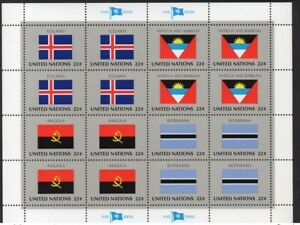 ✔️ UN UNITED NATIONS FLAG SERIES FDC SHEET 16 STAMPS MNH** ICELAND ANTIGUA AND B