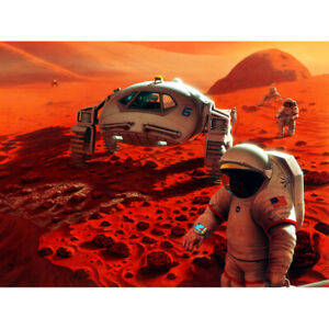Space-NASA-Humans-On-Mars-Planet-Rover-Illustration-Canvas-Wall-Art-Print-Poster