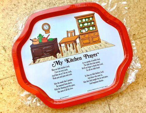 Set Of Two Metal Tea Tray 'My Kitchen Prayer' Theme Vintage But New Serving Tin