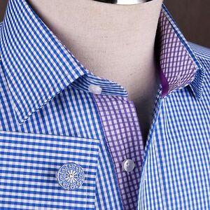 Navy-Blue-Plaids-amp-Checks-Formal-Business-Dress-Shirt-Mini-Gingham-Checkers-Boss