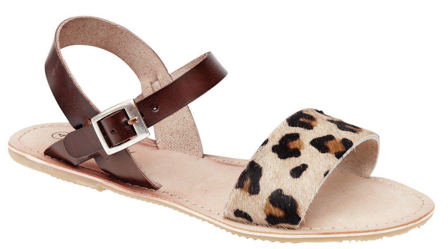 Mujer Savannah Cuero Estampado Marrón Tira en Tobillo Estampado Cuero Leopardo DELANTERO ff6a83