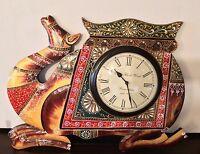 Large Wall Clock Wood Handmade Hand Painted Camel Indian Royal Animal
