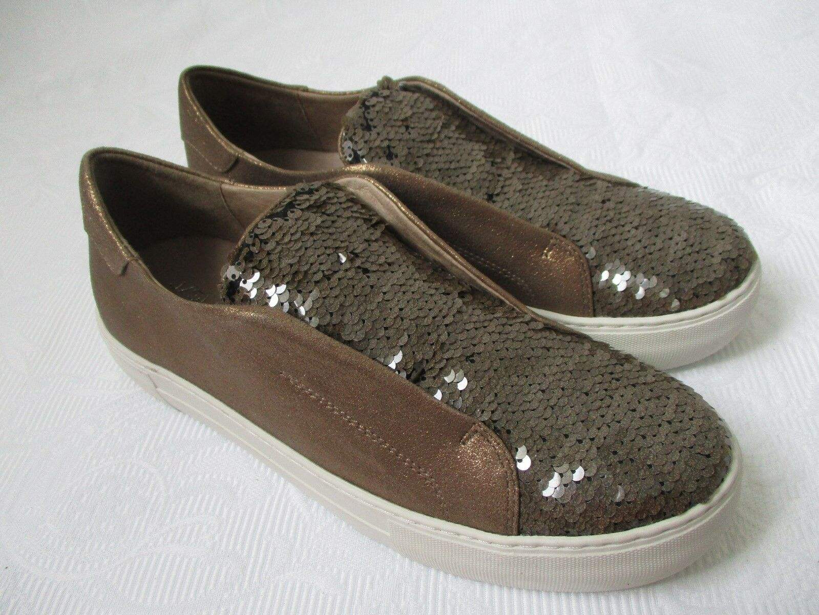 J SLIDES NYC ADAZE METALLIC BRONZE SEQUIN SNEAKERS SIZE 8 1/2 - NEW