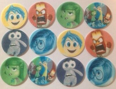 12 x 4cm Inside Out Movie Anger Fear Joy Sadness Edible Cupcake Toppers - PRECUT