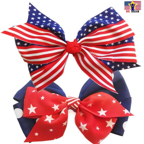 Patriotic American Flag Heart Ribbon Bow Tie Hair Pin Headband USA 4th of July