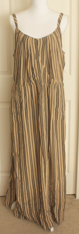 Soft Surroundings Long Brown Striped South Shore Sleeveless Maxi Dress Sz L