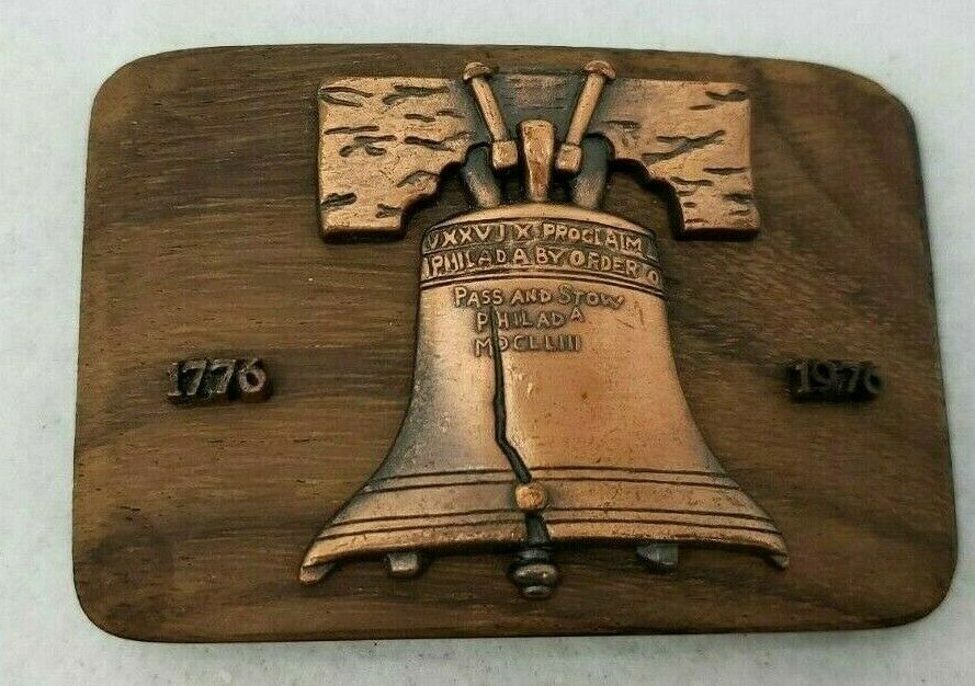 Liberty Bell vintage 1976 Wooden and Copper Belt Buckle US Pass and Stow 70s