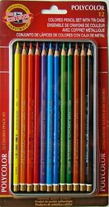 NEW! Koh-I-Noor POLYCOLOR 12pc Asst Colored Drawing Pencils Set w//Tin 4264