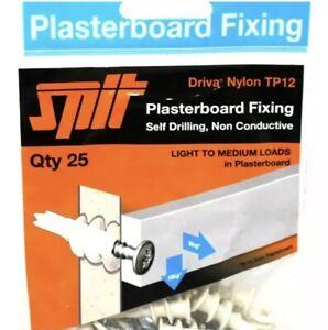 25 SPIT TP12 Driva Nylon Vitesse Bouchons Vis plaque de plâtre Fixation plâtre Qté
