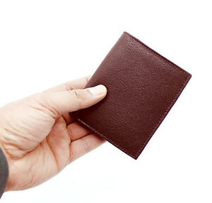 Pequeno-RFID-Real-Cuero-Billetera-soporte-de-hombre-tarjeta-de-credito-Estuche-Monedero-48-Marron