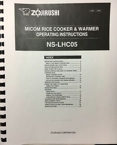 Owner's manual only for zojirushi micom rice cooker & warmer ns.