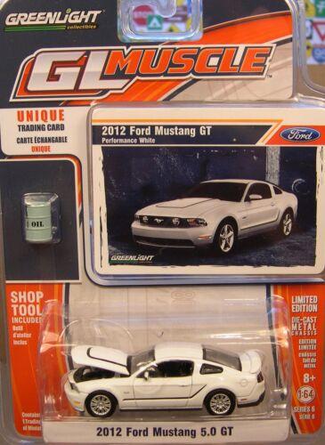 Blanc 2012 FORD MUSTANG GT Greenlight échelle 1:64 Diecast Metal Voiture Modèle