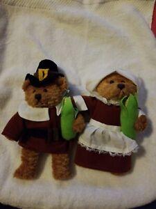 Thanksgiving Fall Beanie Bears Mr & Mrs Pilgrims PLUSHLAND March of Dimes 2002