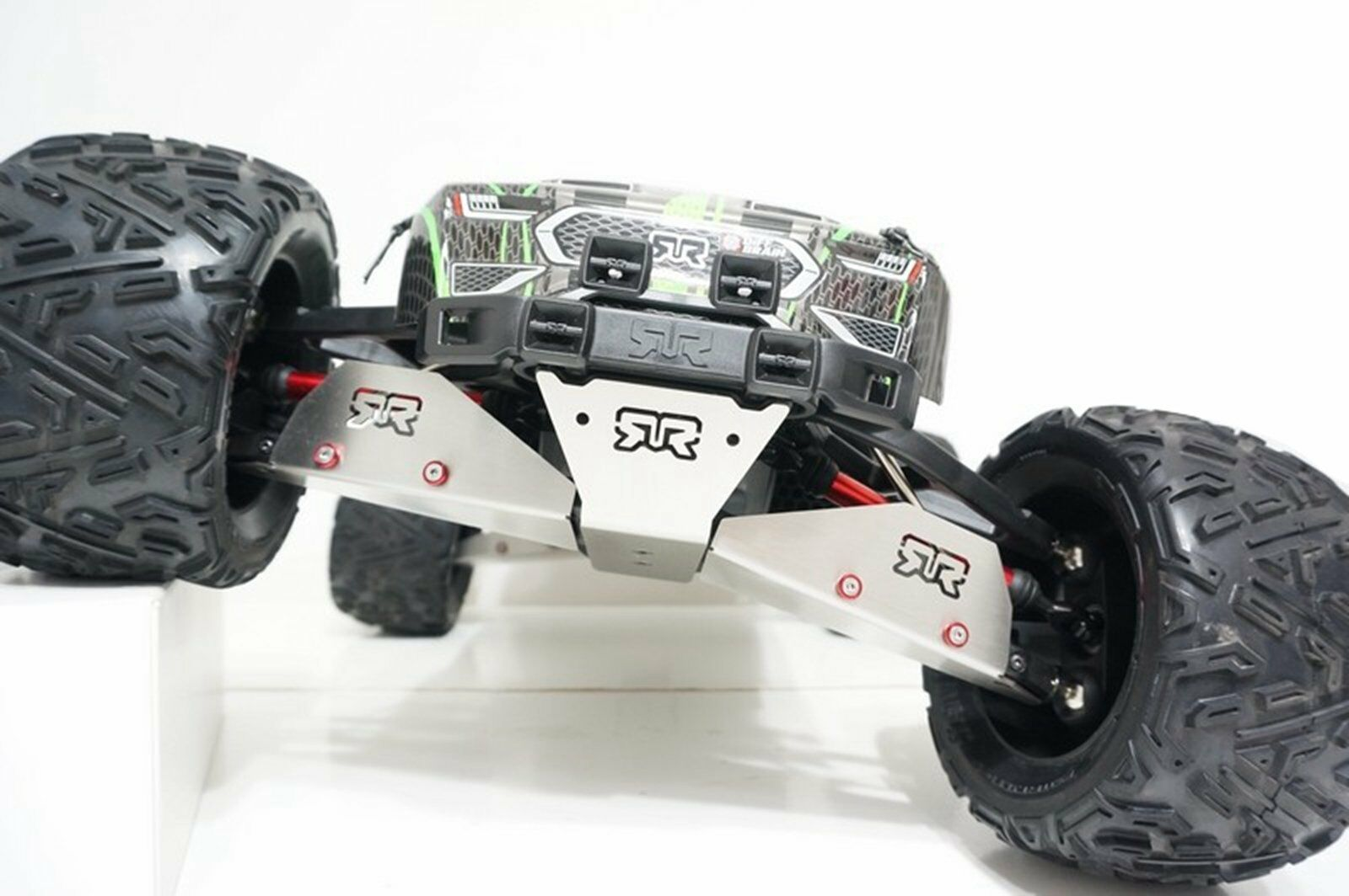 ARGENTO STAINLESS STEEL chassis Armor FRONT & Rear Skid Plate Set per Arrma Nero
