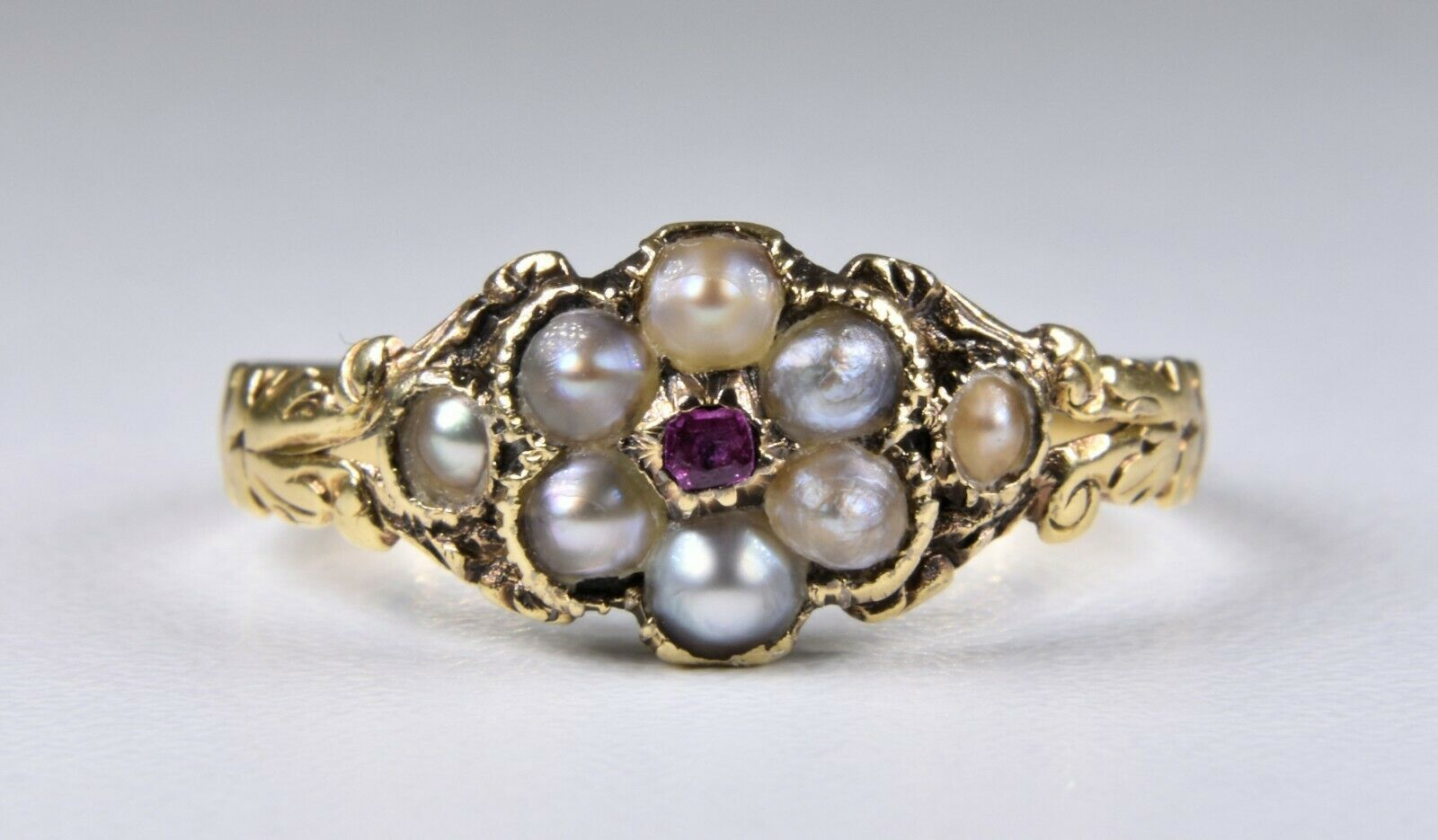 Antique Georgian 18ct gold Forget Me Not Ruby & Pearl Memorial Ring, c1800