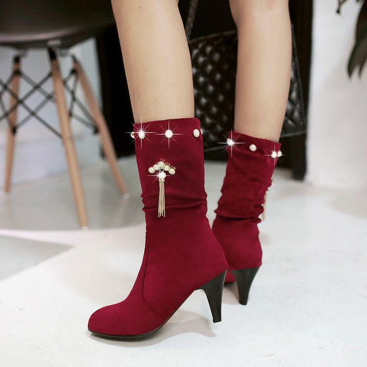 New Womens Tassels Pointed Pearls Mid-calf Boots High stiletto Heel Casual shoes